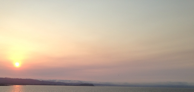 hazy sunset over San Francisco Bay