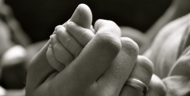 Adult and Baby Hands Intertwined