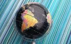 black political globe on blue striped background