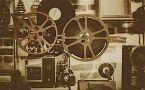 Various movie reels, projectors, phonographs, etc