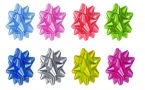 bows of various colors arranged in two rows