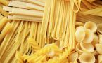 Various types and shapes of pasta noodles piled together.