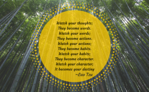 Lao Tzu quote over image of bamboo forest