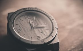 wooden watch face in sepia tones