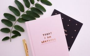 A gratitude journal on a desk with pen and plant
