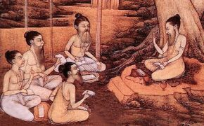 Illustration of guru in the forest teaching his disciples