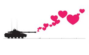 Grpahic of a military tank with hearts coming out of gun.