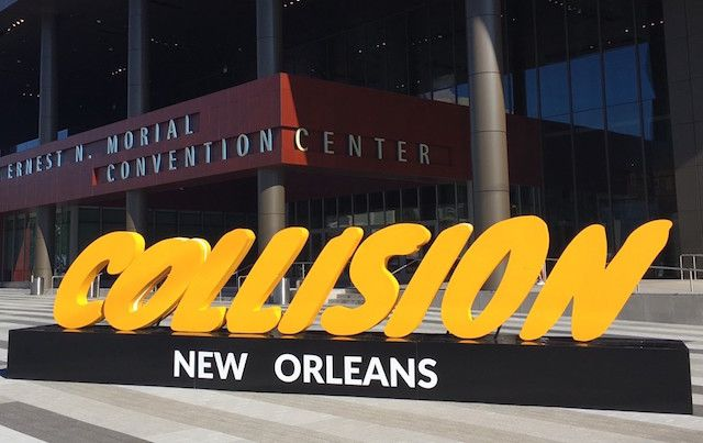 Outdoor sign for #CollisionConf in New Orleans