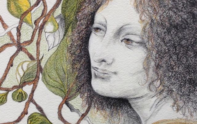 detail from painting by Laura Basha showing woman and plant tendrils