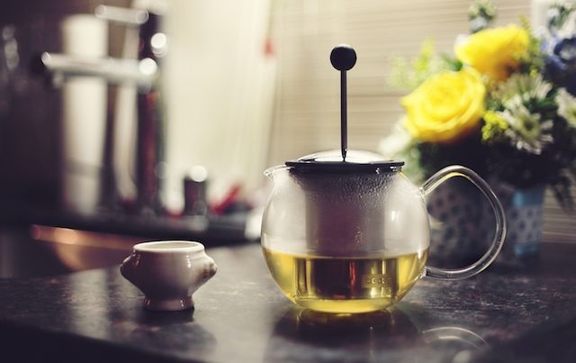 French press tea pot and cup