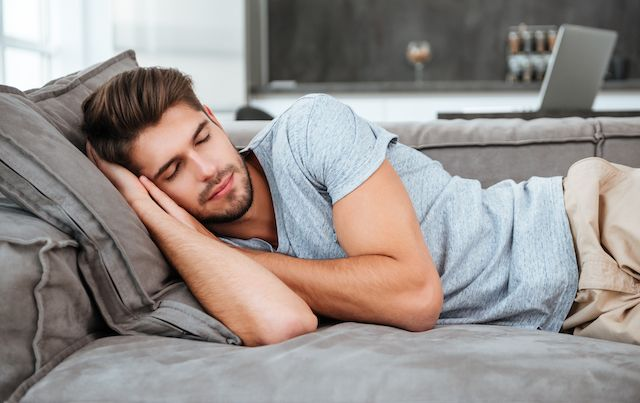 Man napping on the couch