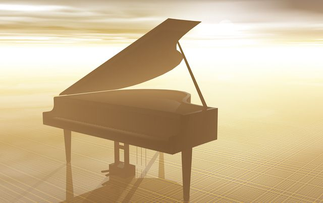 Graphic of golden grand piano on hazy beach.