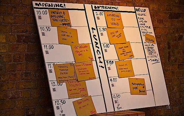 schedule of a day on easel
