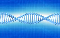 Blue and white graphic of a DNA strand.