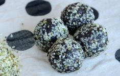 Hemp protein truffle balls on polka dot tablecloth.