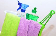 spring cleaning supplies and cloths