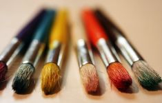 artist's brushes of several colors