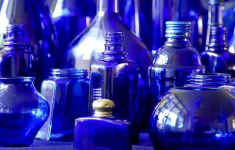 Collection of cobalt blue bottles.