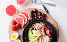Healthy Meal served with chicken salad and fruit