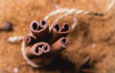 Top view of bundle of cinnamon sticks tied in string