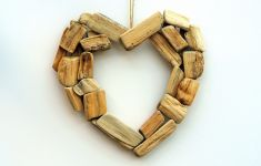 Heart shaped ornament made of pieces of driftwood