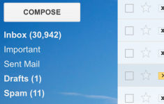 screenshot of email inbox