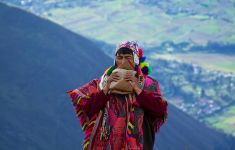 Peruvian shaman ceremony on mountain top.