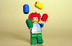 LEGO figure juggling toy pieces