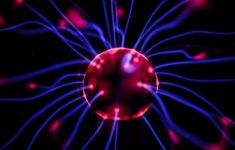 Red electric plasma ball with blue rys of energy flowing out.