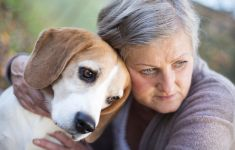 Older woman outside hugging her basset hound dog