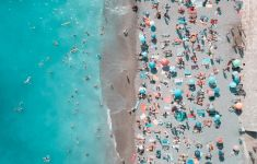 overhead shot of beach with lots of sunbathers