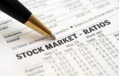Close up of ballpoint pen and stock market ratios report.