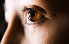 Close up of woman's crying eye