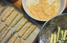 ingredients laid out for zucchini stick recipe