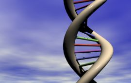 Graphic of DNA strand against blue sky and clouds.