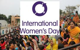 International Women's Day logo with crowd of women