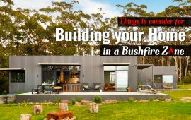 Graphic of home with working: THINGS TO CONSIDER WHEN BUILDING YOUR HOME IN A BUSHFIRE ZONE