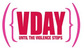 V-Day logo in pink and red