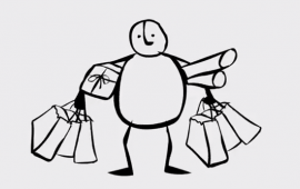 Line Drawing of person with bags