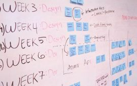 Whiteboard with weekly schedule and post-it notes