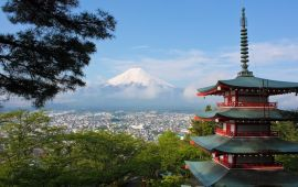 Mount Fuji with pagoda in foreground