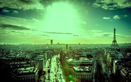 green tinted image of paris cityscape
