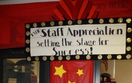 School staff appreciation day sign over library door.