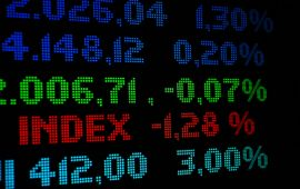 Colorful stock market readout digital display