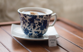 A cup of tea in a blue China cup
