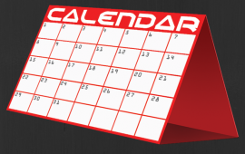 illustrated red and white calendar on black background